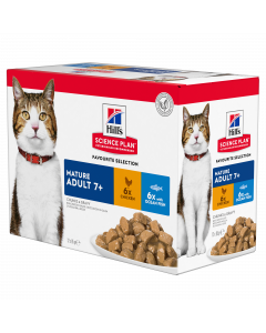 HILL'S SCIENCE PLAN Pack Mixte. 12x85 g. Sachet fraicheur Chat Mature