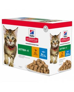 HILL'S SCIENCE PLAN Pack Mixte. 12x85 g. Sachets fraicheur Chaton