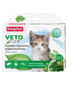3 pipettes répulsives antiparasitaires chaton VetoPure BEAPHAR