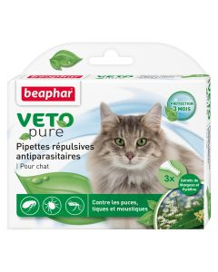 Pipettes répulsives antiparasitaires chat VetoPure BEAPHAR