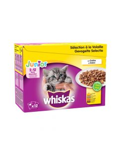 WHISKAS Junior Sélection Volaille. 12x100g. Sachet fraicheur Chaton