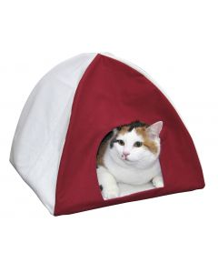 Panier igloo Tipi blanc et rouge pour chat KERBL