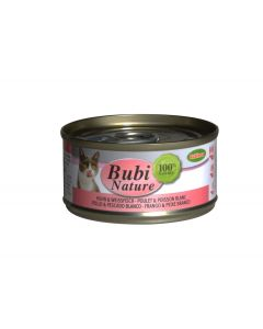 BUBIMEX. Bubi Nature Poulet et poissons blancs. 70 g. Terrine chat
