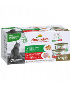 ALMO NATURE Hfc Natural Made In Italy Grain Free Dinde Grillée et Jambon Fromage Chat