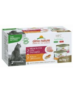 ALMO NATURE Hfc Natural Made In Italy Grain Free Jambon Dinde et Poulet Grillé Chat