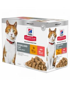 HILL'S SCIENCE PLAN Young Sterilised Pack mixte. 12x85 g. Pâtée chat